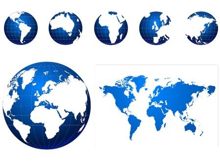weltkugel asien: blaue und wei�e Globus Icons set