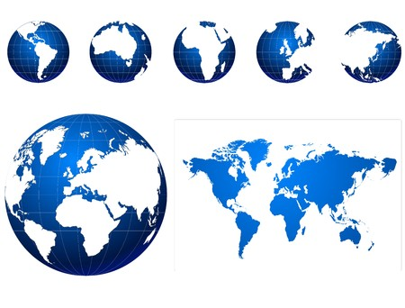 asia globe: blue and white globe icons set
