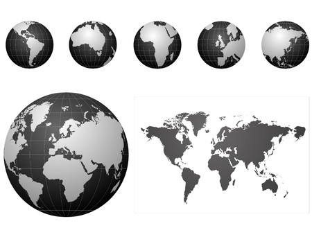 asia globe: black globe icons set