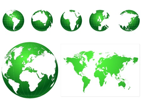 physical geography: green and white  globe icons set Illustration