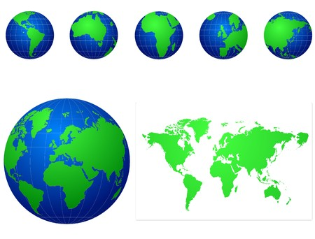 asia globe: blue and green globe icons set Illustration