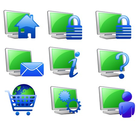 shopping questions: internet  and website icons set  Illustration