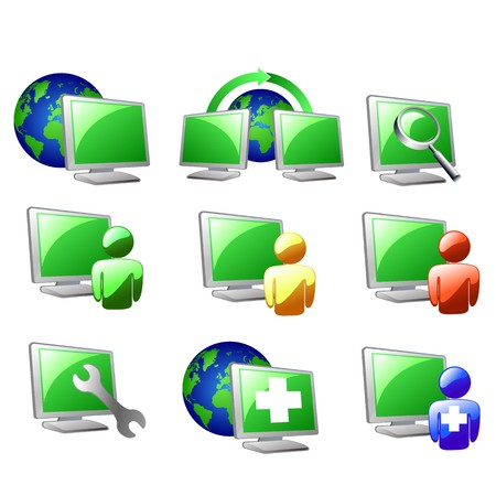 computer repair: internet  and website icons set  Illustration