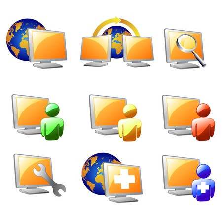 computer repair: website  and internet icons isolated on white