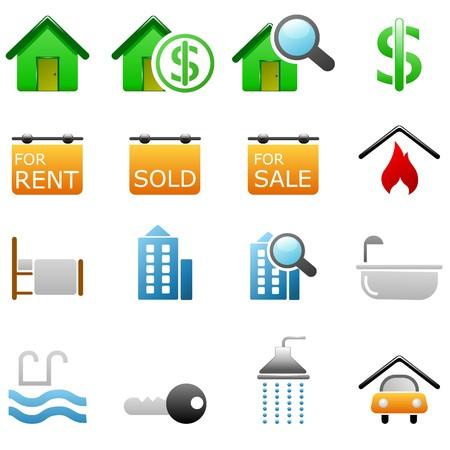 gradual: Iconos de Real Estate  Vectores