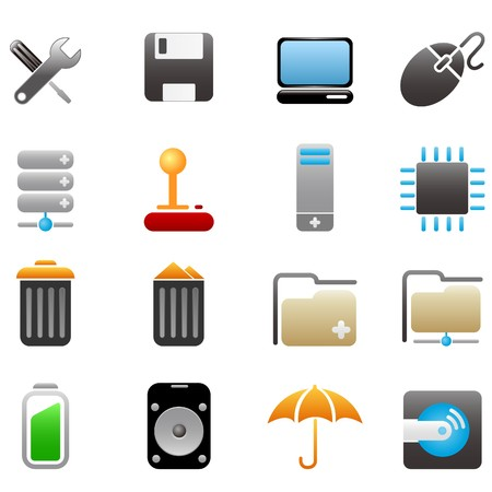 hard disk drive: Computer and Data icons Illustration