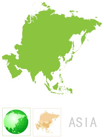 physical geography: Asia map and icon