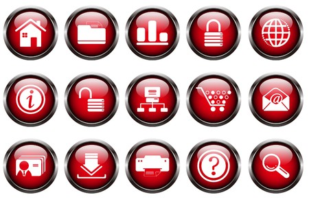 website and internet icons red series on white background Stock Vector - 7612333