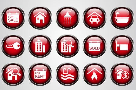 gradual: Bot�n de cristal de iconos rojo Real Estate