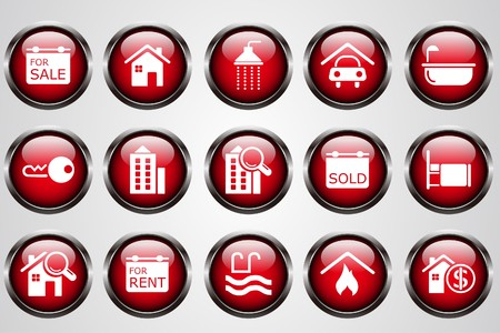 Real Estate icons  red crystal button Stock Vector - 7612340