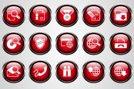 Internet icons red crystal button Vector