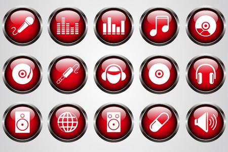 Music and Dance icons red crystal button Vector
