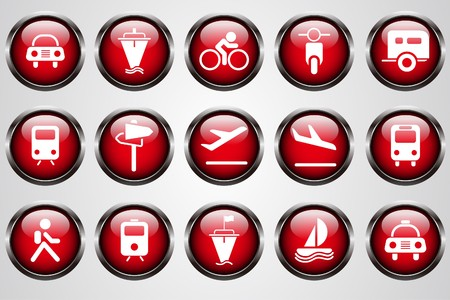 Transportation and Vehicle icons red  Crystal Button Vector