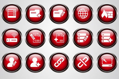 circularity: Database and Network icons red  cystal button Illustration