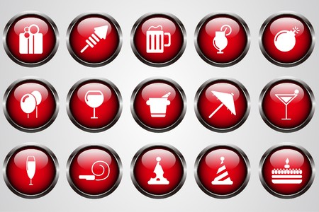 Party and Celebration icons red crystal button Stock Vector - 7612316