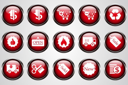 Sale and Shopping icons red crystal button Vector