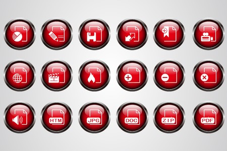 formats: Document and File formats red crystal button