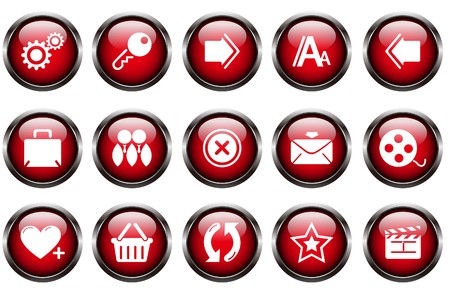 website and internet icons red crystal button Vector