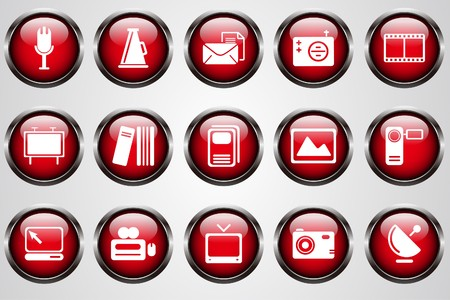 circularity: Media and Publishing icons red crystal button
