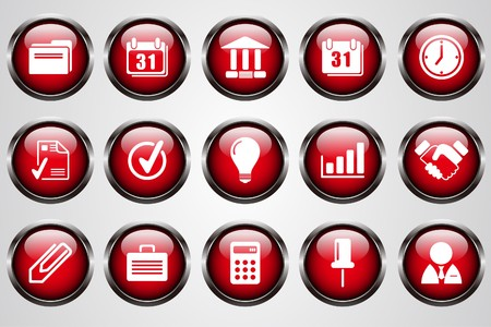 gradual: Business icons red crystal button Illustration