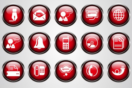 Communication icons red crystal button Vector