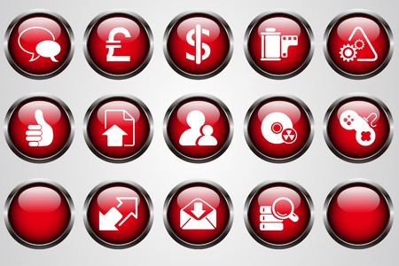Internet icons red cystal button Vector