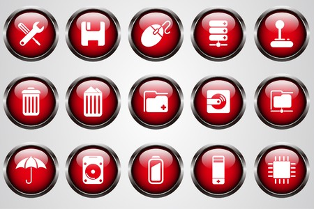 Computer and Data icons red cystal button Vector