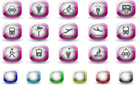 rectangluar: Transportation and Vehicle icons TV Series Illustration