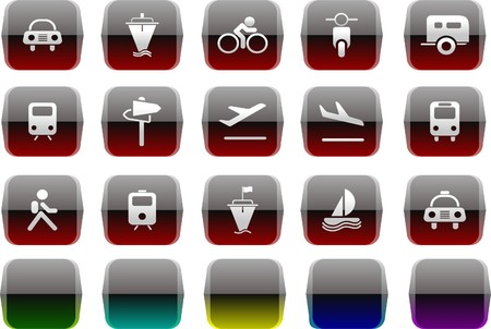 rectangluar: Transportation and Vehicle icons Transparent metal Series Illustration