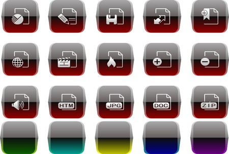 circularity: Document and File formats icons Transparent metal Series Illustration