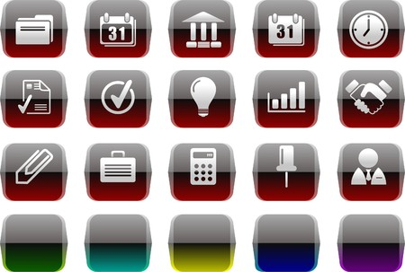 Business icons Transparent metal Series Vector