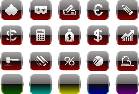 Finance and Banking icons Transparent metal Series Vector
