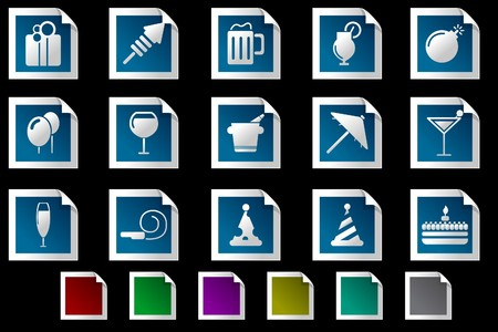 rectangluar: Party and Celebration icons Photo frame series