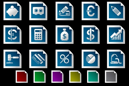 Finance and Banking icons Photo frame series Vector