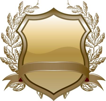 blasone:  design di scudo con piante e decorazione marrone