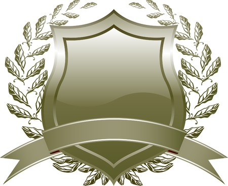 shield design with plant and decoration  Celadon   Vector