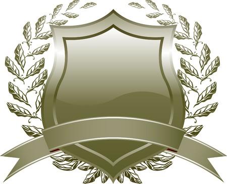 celadon:  shield design with plant and decoration  Celadon