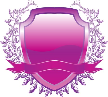 shield design with plant and decoration purple