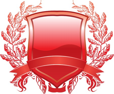 armory:  shield design with plant and decoration red
