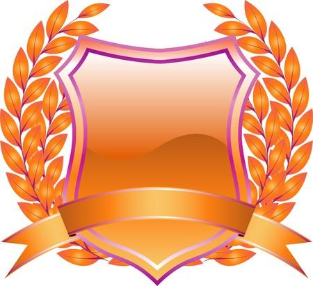 diseño de escudo con naranja de planta y decoración