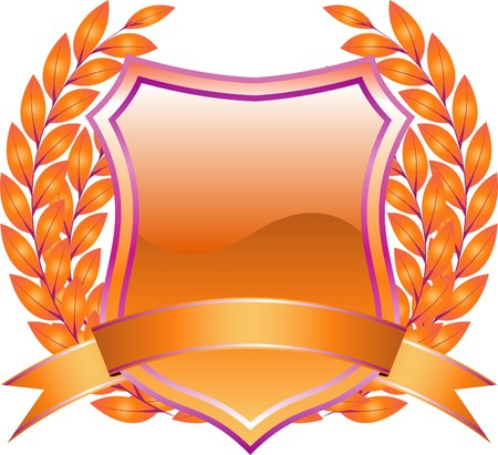 armory:   shield design with plant and decoration orange Illustration