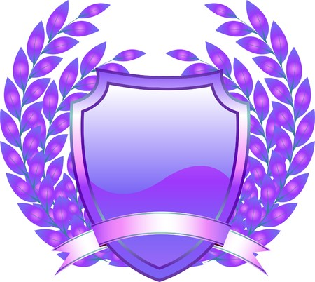 armory:  shield design with plant and decoration purple