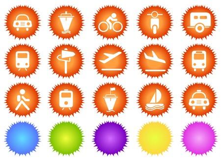 circularity: Transportation and Vehicle icons sun series