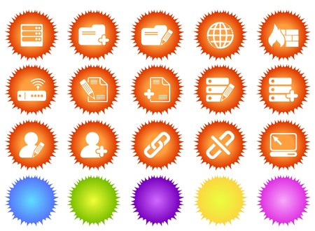 gradual: Database and Network icons sun series