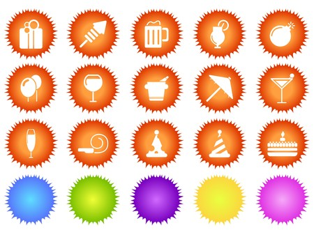 Party and Celebration icons sun series Vector