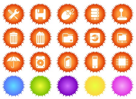 Computer and Data icons sun series Vector