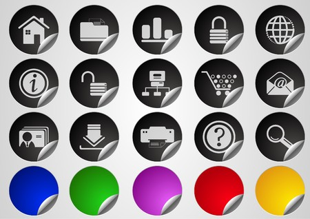 website and internet icons Label Button series on white background Vector
