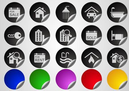 gradual: Iconos de Real Estate serie de bot�n de etiqueta