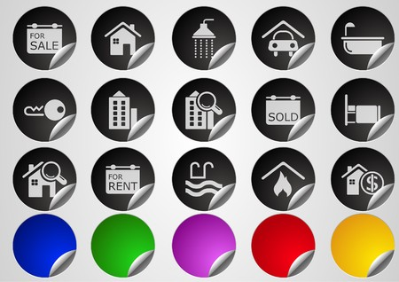 Real Estate icons  Label Button series Stock Vector - 7612553
