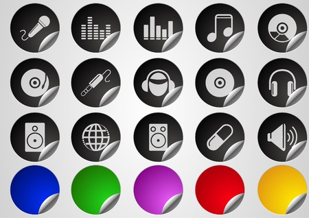 Music and Dance icons Label Button series Vector